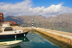 Bay of Kotor near Prcanj town on a sunny winter day. Montenegro. View of  Bay of Kotor near Prcanj town on a sunny winter day. Montenegro Royalty Free Stock Image