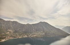 View of the Bay of Kotor from the observation deck. Montenegro. Summer stock photography