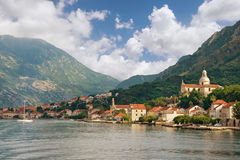 View of Bay of Kotor and Prcanj city. Montenegro Stock Photos