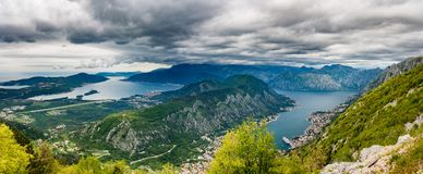 View of Bay of Kotor from Serpentine road stock photo