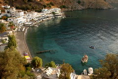 View of the bay of loutro on the island crete Stock Photos