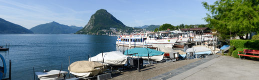 View of the bay of Lugano Royalty Free Stock Photos