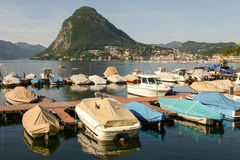 View of the bay of Lugano Stock Image