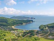View of the bay Nakhodka and island Lisiy Stock Photos