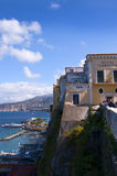 View of the Bay of Naples Italy. The view from the cliffs of Sorrento overlooking the Bay of Naples Italy royalty free stock photo