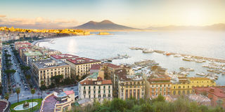 View of the Bay of Naples with Vesuvius Royalty Free Stock Photos