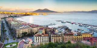 View of the Bay of Naples with Vesuvius Stock Images