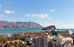View of bay and Old Town in Budva, Montenegro Stock Image
