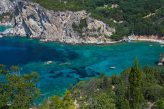 View of the Bay Paleokastritsa. Greece, Corfu Royalty Free Stock Photo