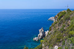 View of the bay of Paleokastritsa on Corfu. Greece, Corfu Royalty Free Stock Photos