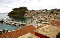 View on the bay in Parga town. Stock Photos