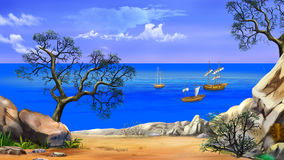 View of the Bay with Sailboats. Shore of the ocean, coast of desert island. Digital Painting Background, Illustration in cartoon style character Stock Photo