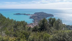 French Riviera. Cape Ferrat viewed from the Plateau Saint-Michel stock photography