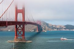 Golden Gate Bridge in the mist. View on the bay of San Fransisco with the Golden gate Bridge in the mist and Fort Point Arch Royalty Free Stock Photography
