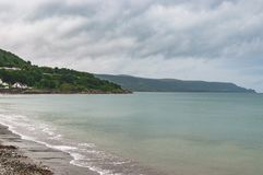 A view of the bay from the shores in Glenarm, Northern Ireland stock photo