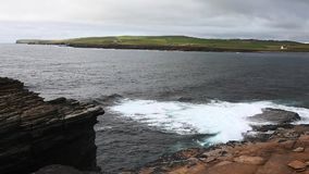 View at the Bay Of Skaill, Orkney, Scotland stock video footage