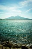 View of the bay and Vesuvius Volcano Stock Image