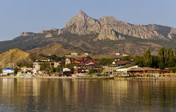 View of the Bay,the village  Koktebel and the mountains. Royalty Free Stock Photos