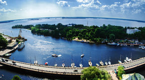 View of the Bay of Vyborg from the tower of the castle Stock Image