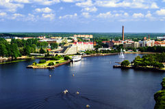 View of the Bay of Vyborg from the tower of the castle Stock Photography