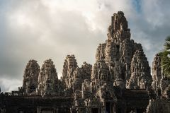View of Bayon in Seam Reap, Cambodia. View of Bayon in cloudy day in Seam Ream, Cambodia stock photography