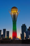 View of Bayterek at night. Astana Royalty Free Stock Photo
