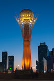 View of Bayterek at night. Astana Stock Images