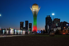 View of Bayterek at night. Astana Stock Photography