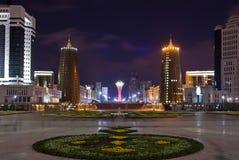 View of Bayterek and Nurzhol boulevard in the evening. Astana. Kazakhstan Stock Images