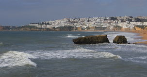 View of the beach at Albufeira in Portugal stock video footage