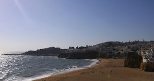 View of the beach at Albufeira, Portugal on sunny day stock footage