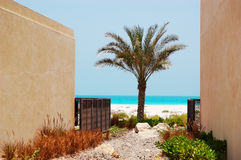 The view on a beach from arabic style modern villa Royalty Free Stock Images