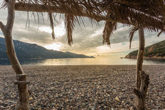 View from beach bar at Bussaglia beach in Corsica Royalty Free Stock Photos