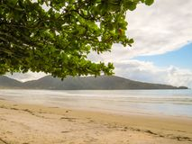 February 24, 2018, Ubatuba, São Paulo, Brazil, view of Lagoinha Beach, with a bay in the background. February 24, 2018, Ubatuba, Sao Paulo, Brazil, view of Royalty Free Stock Images