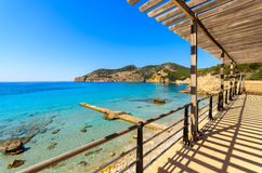 View beach bay mountains promenade walking area. Camp de Mar, Majorca island, Spain Royalty Free Stock Photo