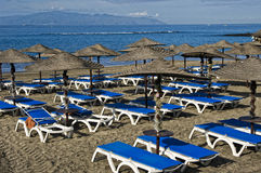 View of beach beds and umbrellas on the beach. Royalty Free Stock Photos