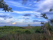 Sunset lifeguard tower royalty free stock image