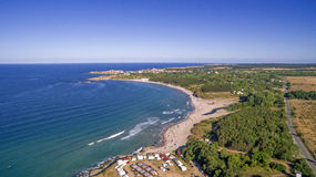 View of a beach on the Black Sea coast from Above Royalty Free Stock Photo