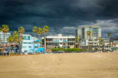View of the beach and buildings in Venice Beach, Los Angeles, Ca Royalty Free Stock Image