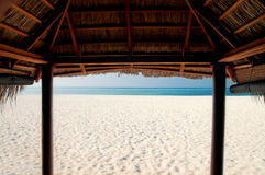 View from a beach cabana Royalty Free Stock Photos