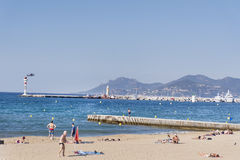 View of the beach at Cannes ,France Royalty Free Stock Photos