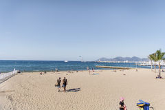 View of the beach at Cannes ,France Stock Images