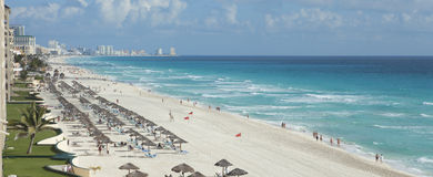 View of beach and Caribbean Sea in Cancun, Mexico