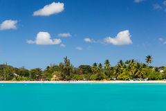 View of the Beach from a Catamaran in Carlisle Bay Barbados. Carlisle Bay is a small natural harbor located in the southwest region of Barbados. The island Stock Photos