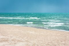 View of the beach of Catania, Sicily, Italy before the thunderstorm.  stock photos