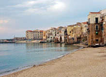 View at beach in Cefalu Stock Photography