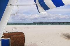 View from beach chair out on sea Royalty Free Stock Images