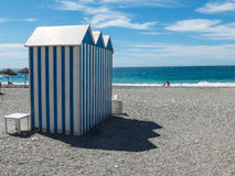 View on beach with changing rooms Royalty Free Stock Photography