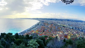 View of beach in City of Nice in sunny summer day. Cote d`Azure, France. Beautiful panoramic aerial view of beach in City of Nice in sunny summer day. Cote d` stock footage