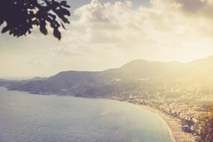View of the beach Cleopatra. Alanya, Turkey.Wonderful country.At home from a height. Roofs of buildings.View of the city.Observati. On deck.Mountains of Alanya stock photo